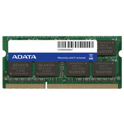 ADATA DDR3, 1600MHz 204-Pin, SO-DIMM, 4GB (AD3S1600W4G11-R)