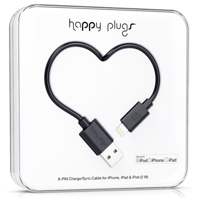 Happy Plugs 2m, Lightning - USB (9904)