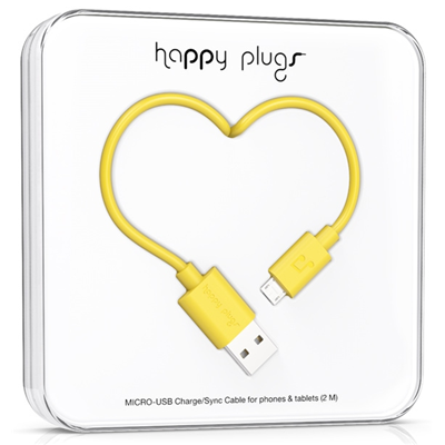Happy Plugs 2m, Micro-USB - USB (9923)
