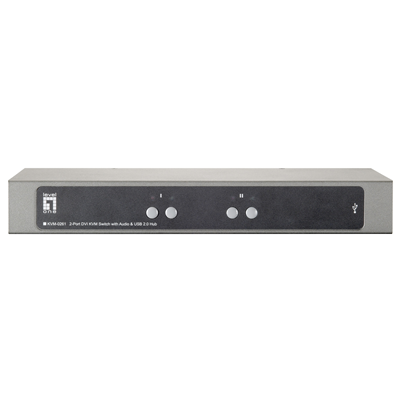 LevelOne KVM-0261 2-Port USB DVI KVM Switch with Audio & USB Hub