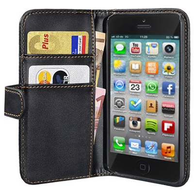 PEDEA Book Cover schwarz fr Apple iPhone 5S