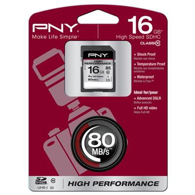 PNY 16GB, SDHC High Performance (SD16G10HIGPER80-EF)