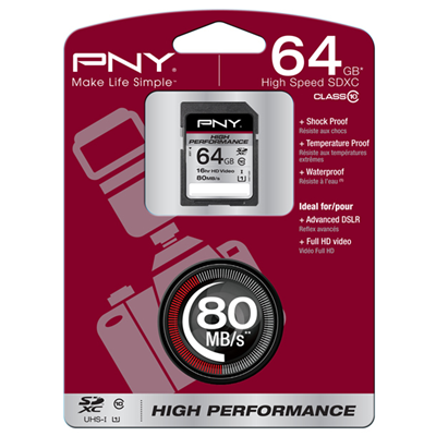 PNY 64GB, SDXC High Performance (SD64G10HIGPER80-EF)