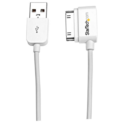 StarTech USB iPhone® / iPad® und iPod® Ladekabel links gewinkelt 2m - USB auf Apple Dock Datenkabel - Weiß