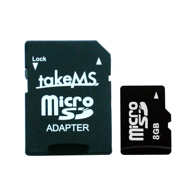 takeMS 8GB Micro SDHC Class 4 + 1 Adapter (88663)